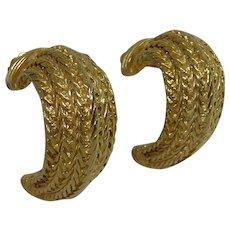 Vintage Designer Signed Erwin Pearl Golden Clip On Earrings