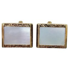 Vintage MOP Mother of Pearl Cuff Links - Golden Rectangle Shape With Shell Fronts