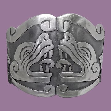 Huge Bold Vintage Mexican Sterling Silver Mayan Kukulkan Niello Bracelet Signed VGV