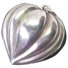 Vintage Sterling Silver Ribbed Puffy Heart Pendant or Large Charm