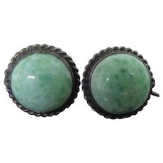 Older Vintage Sterling Silver & Green Peking Glass Earrings with Screw Back Settings