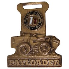 Vintage Hough IH Payloader Tractor Fob Enamel Signed DOW & Company