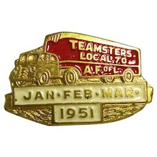 1951 Teamsters Local 70 AF of L 1st Quarter Truck Union Dues Paid Pin Signed GreenDuck
