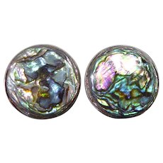 Colorful Vintage Mexican Sterling Silver & Abalone Shell Screw Back Earrings Signed EHC