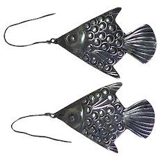 Unusual Handmade Sterling Silver Fish Earrings - Nicely Detailed!