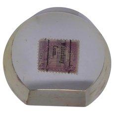 Rare Lucite Paperweight With 2 Encased Precancel Stamps - Arlington Amphitheater Golden Gate