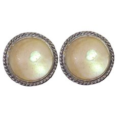 Older Vintage Sterling Silver Earrings With Mother of Pearl and Rope Border - screw backs