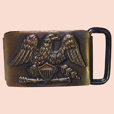 Vintage Belt Buckle Signed North & Judd With Perched Eagle,  Shield, and Arrows