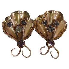 Signed Bugbee & Niles Goldtone Rhinestone Stylized Butterfly Earrings