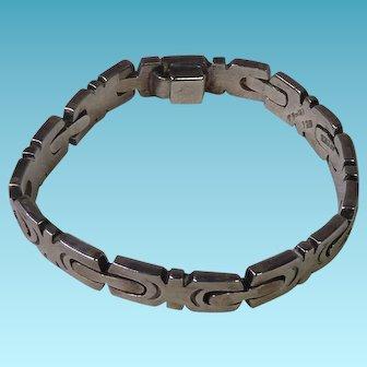 Heavy Vintage Men's Sterling Silver Mexican Link Bracelet 47 Grams
