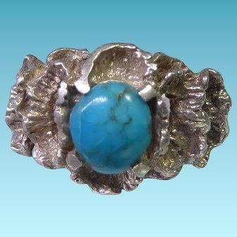 Vintage Brutalist Sterling Silver & Turquoise Ring Size 5