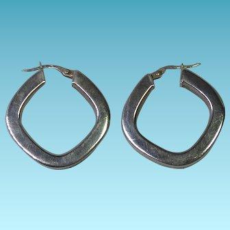 Italian Sterling Silver Squared Hoop Earrings