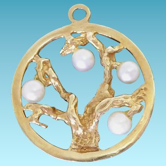 """Large Pretty 14K Gold & Pearled Fruit Tree Pendant or Charm - about 1"""" tall"""