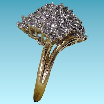 Fabulous 14K Gold & Diamond Cluster Ring - Size 8