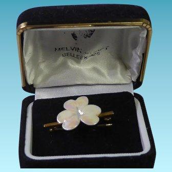 Beautiful Belleek Porcelain Pin Pansy Flower In Original Presentation Box