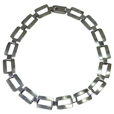 Big Bold Mexican Sterling Silver Necklace With Rectangle Link Signed TQ-06 - Jaime Quinoz