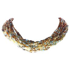 Designer Signed KJL Twisted Beaded Multi Strand Torsade Necklace by Kenneth Jay Lane