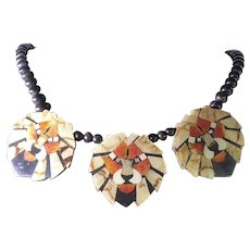 Attention Getting Lion Necklace With Mosaic Lucite Topped Coral & Shell Lions & Wooden Beads