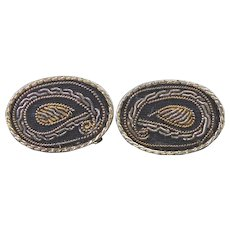 Unusual Goldwork Embroidery Oval Shape Cuff Links Signed S In A Pentagon