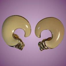 Vintage Signed Trifari Cream Enamel Earrings - Horn or Comma Shape