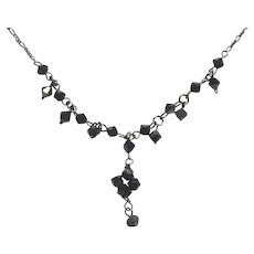 Beautiful Blackened Sterling Silver Necklace With Black Glass Beads