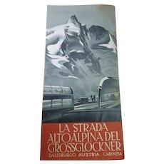 Vintage 1950s Austria Road Trip Brochure 'The Grossglockner Alpine Road' With Art by H.C. Berann