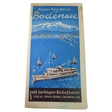 Vintage German Travel Guide of Lake Constance Area (Bodensee) Circa 1955 - With Colored Relief Map Of Lake