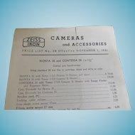 1951 Vintage Camera & Accessories Price List Zeiss Ikon Cameras