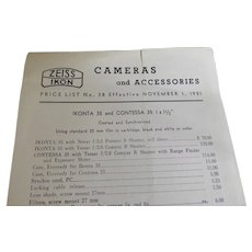1951 Vintage Camera & Accessories Price List Zeiss Ikon Cameras