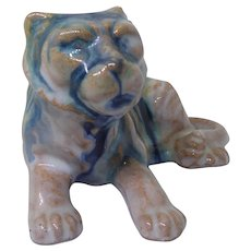 Vintage Pottery Tiger Figure Marked Japan - White Glaze & Blue Stripes
