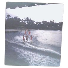 3D Stereo Slide View January 1955 Florida - Human Pyramid Water Skiers With Flag