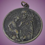Very Old Vintage to Antique St Joseph's Death Medal Deep Patina