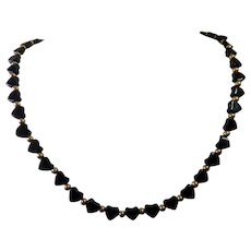 Black Heart  Necklace With Glass Hearts & 14K Clasp