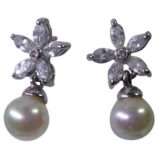 Sterling Silver 925 Floral Crystal & Faux Pearl Drop Earrings for Pierced Ears Marked 925