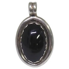 Vintage Native American Sterling Silver & Black Stone Pendant Signed With Symbol