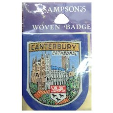 Vintage Travel Patch Canterbury Cathedral England In Original Packaging