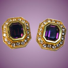Vintage Signed Diva Earrings Purple & Clear Crystals in Golden Setting - Clip On