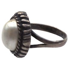 Hand Made Silver Ring with Faux Pearl Size 6