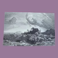 Victorian Fine Art Etching The Campagna by JW Schirmer Engraved by E Willmann