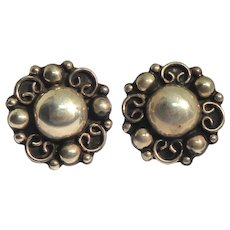 Mexican Sterling Silver Earrings Signed TC-140 925 With Fancy Dome Shape