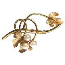 Beautiful Signed Danecraft 1/20 12K Gold Filled Pearl Brooch - Grapevine Design