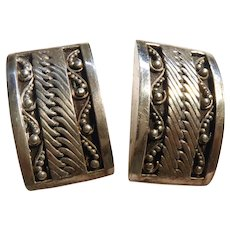 Designer Signed Lois Hill Earrings Indonesia Sterling Silver Beaded Scroll Design