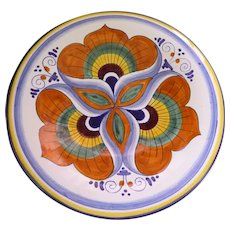 "Hand Painted Italian 7"" Ceramic Plate Maiolicari Faentini La Pavona With COA and In Original Box"