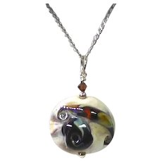 Amazing and Beautiful Italian Art Glass Pendant On Sterling Silver Chain - Marked Italy & 925