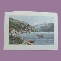 Vintage Print Oberhofen am Thunersee Switzerland Artist L Robock Engraver Kurz