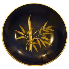 OCCUPIED JAPAN Bamboo Bowl Lacquerware Signed Maruni Black Gold