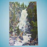 Vintage Colorado Linen Finish Postcard of Fish Creek Falls