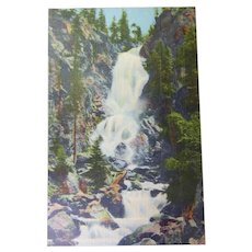 Vintage Colorado Linen Finish Postcard of Fish Creek Falls