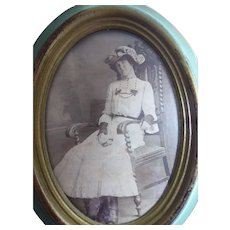 Framed Victorian Photo of Gertrude Grace Crotty (nee Perkins) at Age 14 Vintage Fashion Gloves