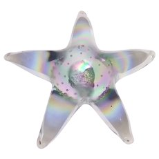 Beautiful Iridescent Art Glass Starfish Paperweight Star Fish Ocean Beach Theme